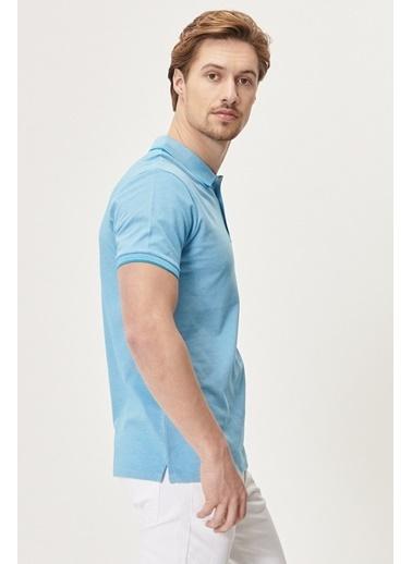 Altınyıldız Classics Düğmeli Polo Yaka Cepsiz Slim Fit Dar Kesim Düz Tişört 4A4820200047 Mavi